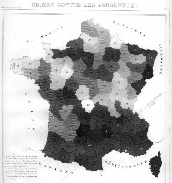 Figure 97. <em>Chloropleth Map of France</em> showing crime levels (André-Michel Guerry)