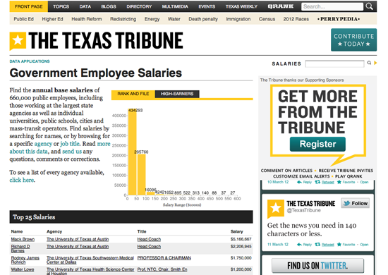 Figure 6. <em>Government Employee Salaries</em> (The Texas Tribune)