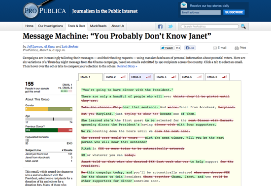 Figure 9. <em>Message Machine</em> (ProPublica)