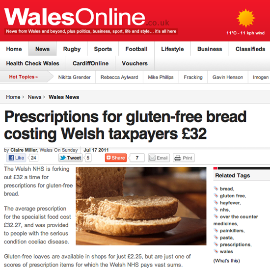 Figure 70. <em>Prescriptions for gluten-free bread costing Welsh taxpayers £32</em> (WalesOnline)
