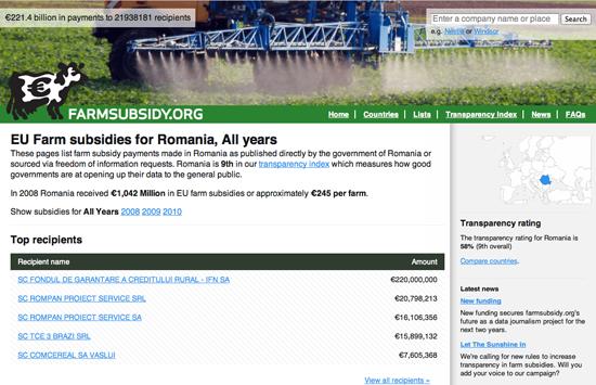 Figure 56. The Farm Subsidy website (Farmsubsidy.org)